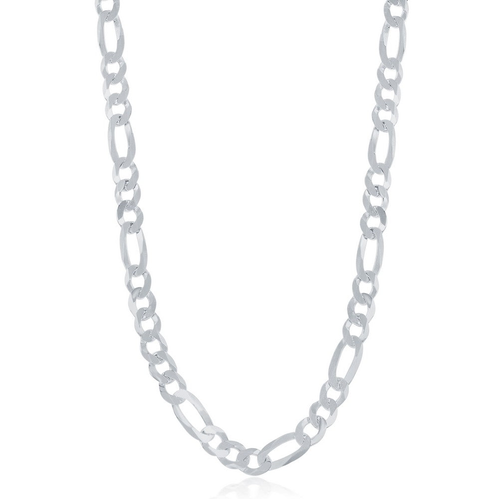 Sterling Silver 5.8mm Figaro Chain -Rohdium Plated