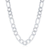 Sterling Silver 7.5mm Figaro Chain - Rhodium Plated