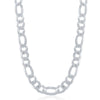 Sterling Silver 8.6mm Figaro Chain - Rhodium Plated