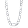 Sterling Silver 13.3mm Figaro Chain - Rhodium Plated