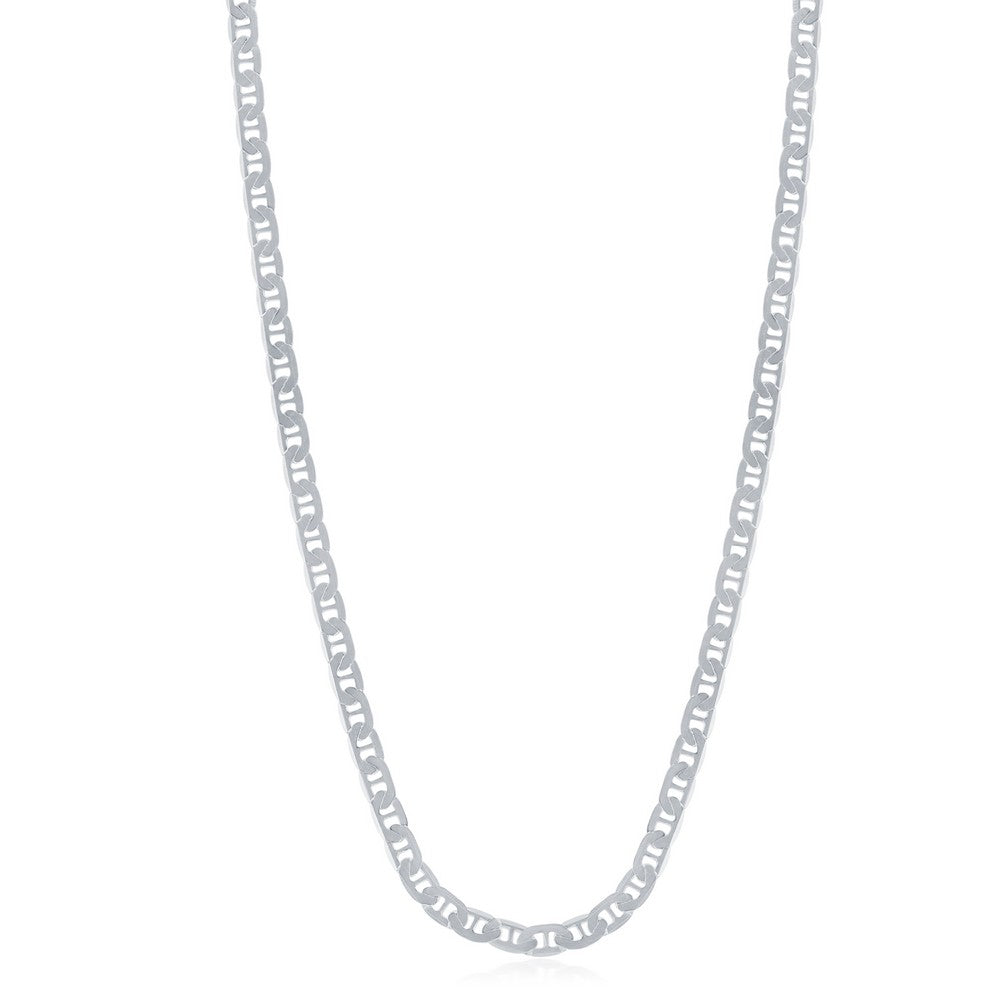 Sterling Silver 3.5mm Flat Marina Chain - Rhodium Plated