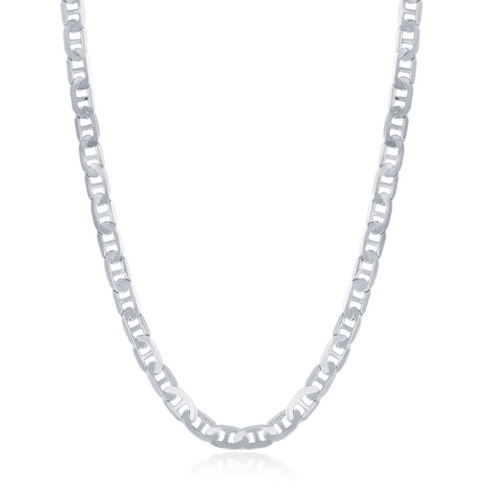 Sterling Silver 4.1mm Flat Marina Chain - Rhodium Plated