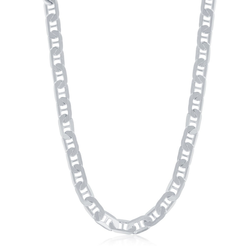 Sterling Silver 5.8mm Flat Marina Chain - Rhodium Plated