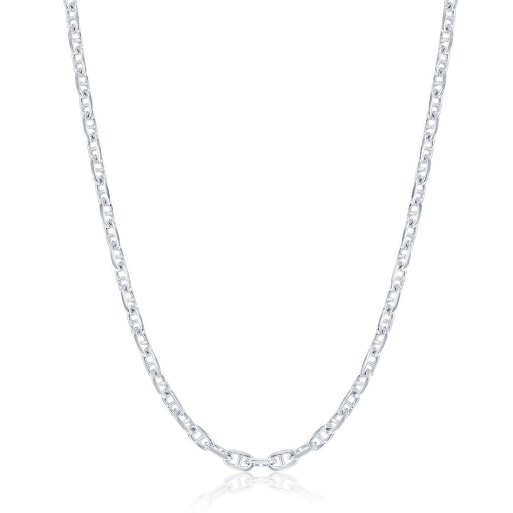 Sterling Silver 3.6mm Anchor Marina Chain - Rhodium Plated