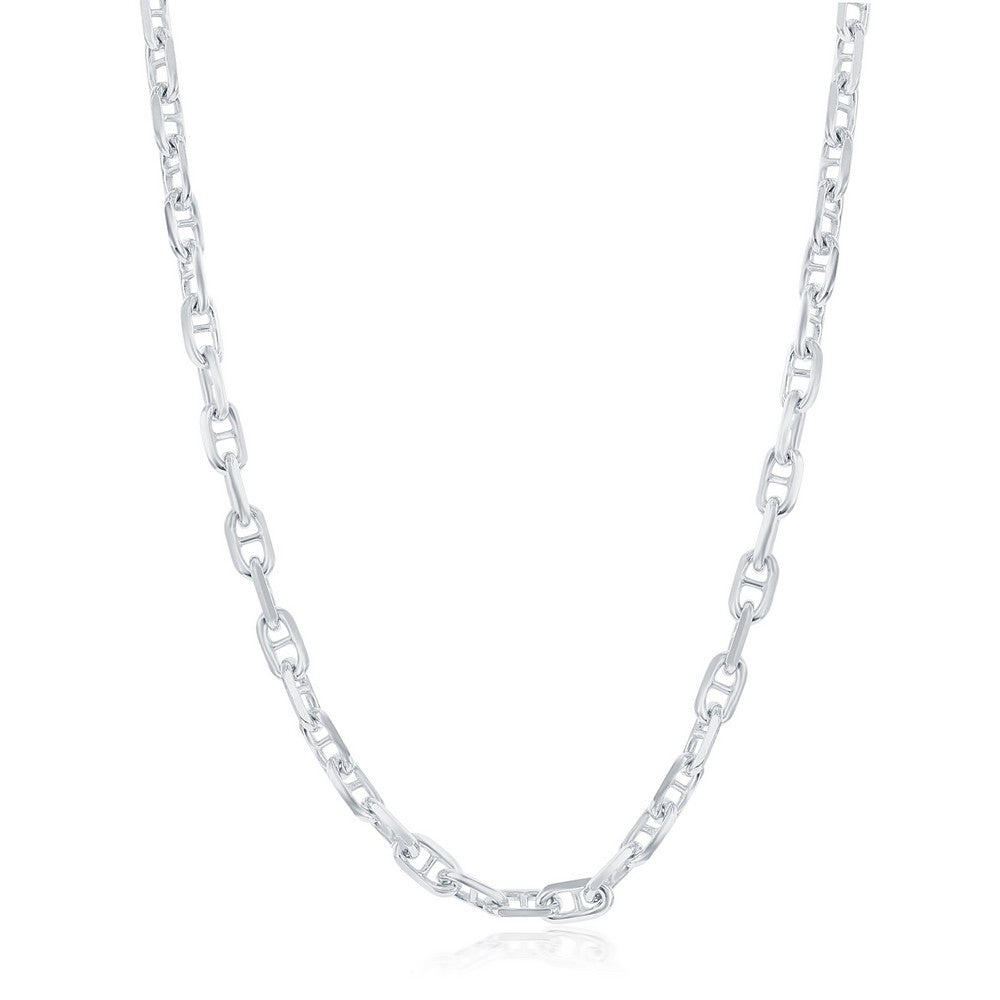 Sterling Silver 4.6mm Anchor Marina Chain - Rhodium Plated