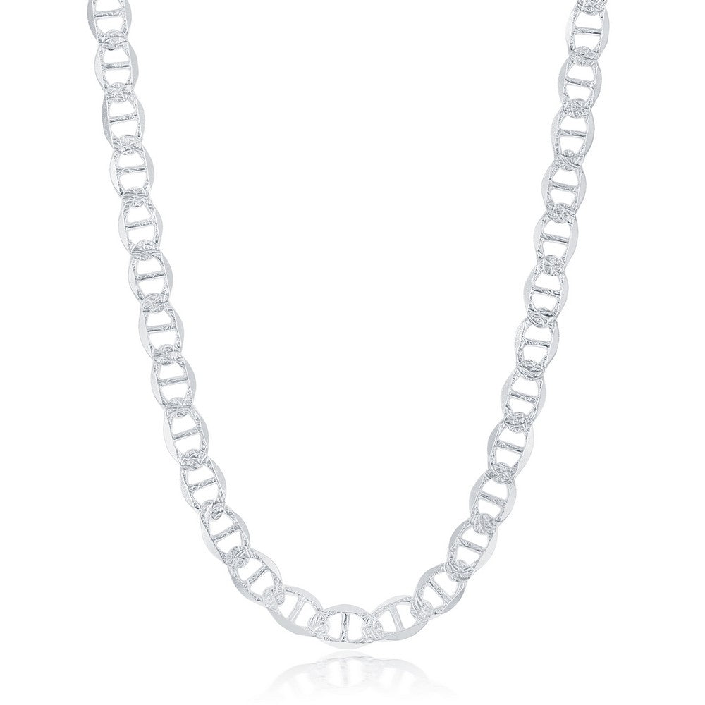 Sterling Silver 7mm Pave Marina Chain - Rhodium Plated