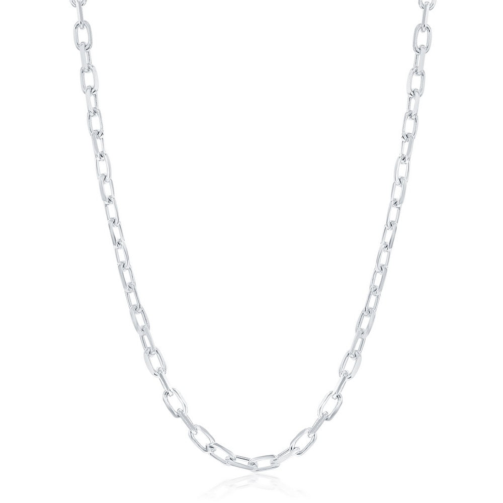 Sterling Silver 4.1mm Anchor Chain - Rhodium Plated