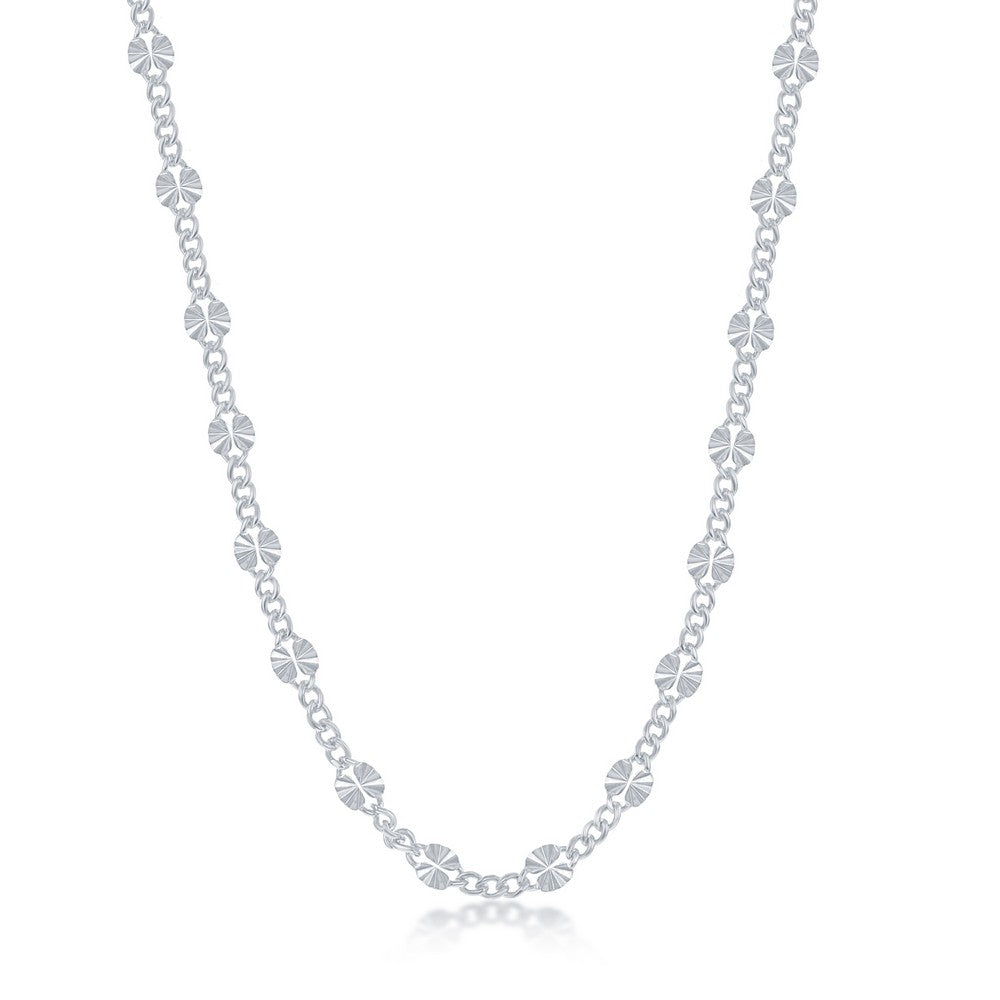 Sterling Silver Alternating Curb and Diamond-Cut Disc Chain - Rhodium Plated