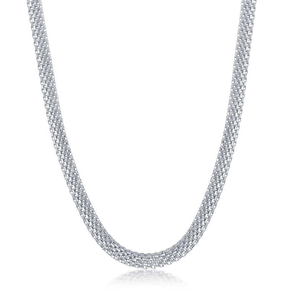 Sterling Silver 5mm Flat Mesh Chain - Rhodium Plated