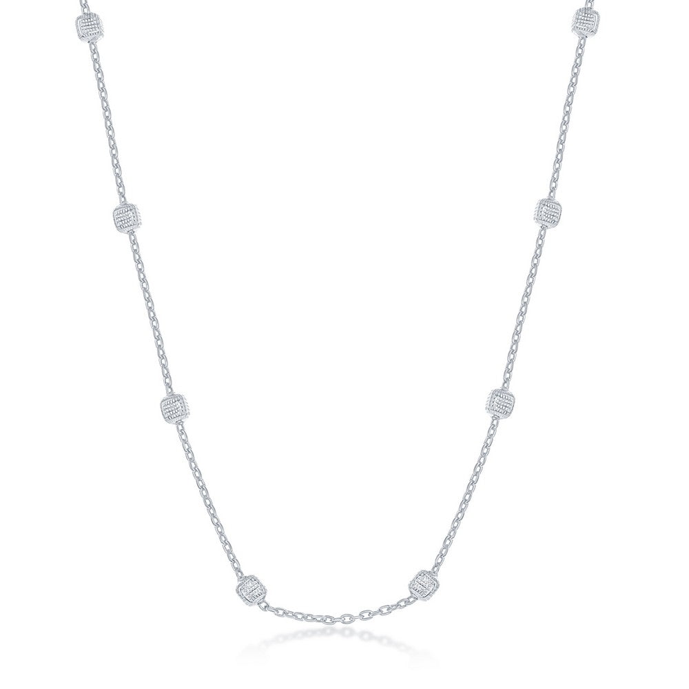 Sterling Silver Grid Square Beaded Chain - Rhodium Plated