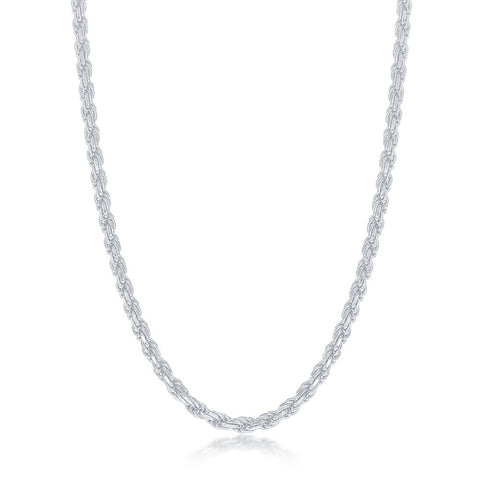 Sterling Silver Solid Diamond-Cut 3mm Rope Chain - Rhodium Plated