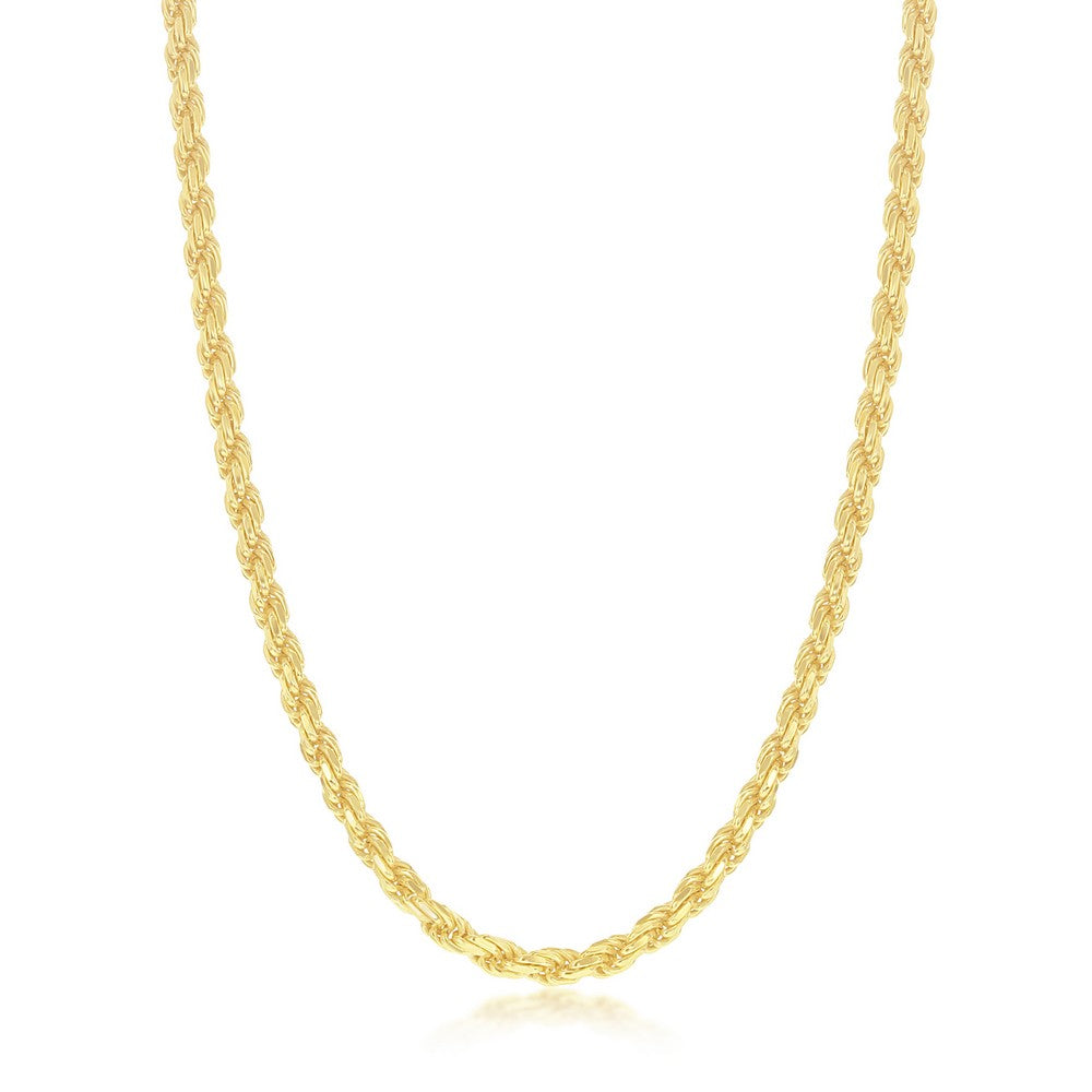 Sterling Silver Solid Diamond-Cut 3mm Rope Chain - Gold Plated