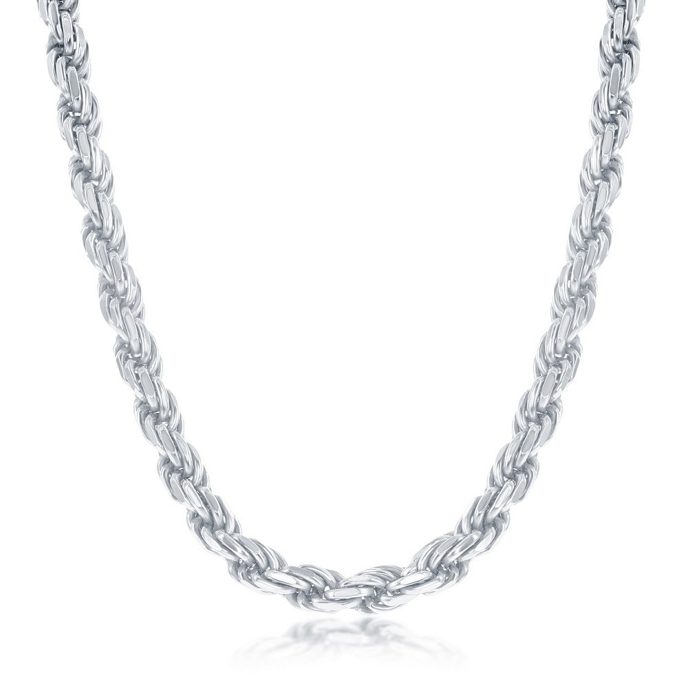 Sterling Silver Solid Diamond-Cut 5mm Rope Chain - Rhodium Plated