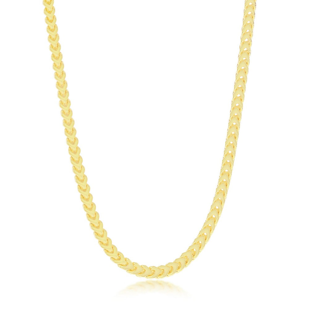 Sterling Silver 3mm Franco Chain (100 Gauge) - Gold Plated
