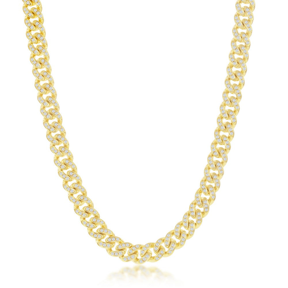 Sterling Silver Micro Pave CZ, 6.5mm Miami Cuban Chain - Gold Plated