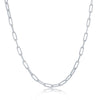 Sterling Silver 2.8mm Paper Clip Linked Chain - Rhodium Plated