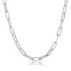 Sterling Silver 3.2mm Paper Clip Chain -Rhodium Plated