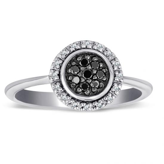 Sterling Silver Ring with Black and White Diamonds