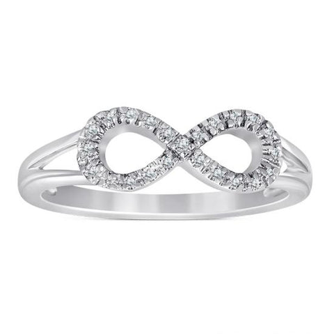 Sterling Silver Infinity Ring with Diamonds