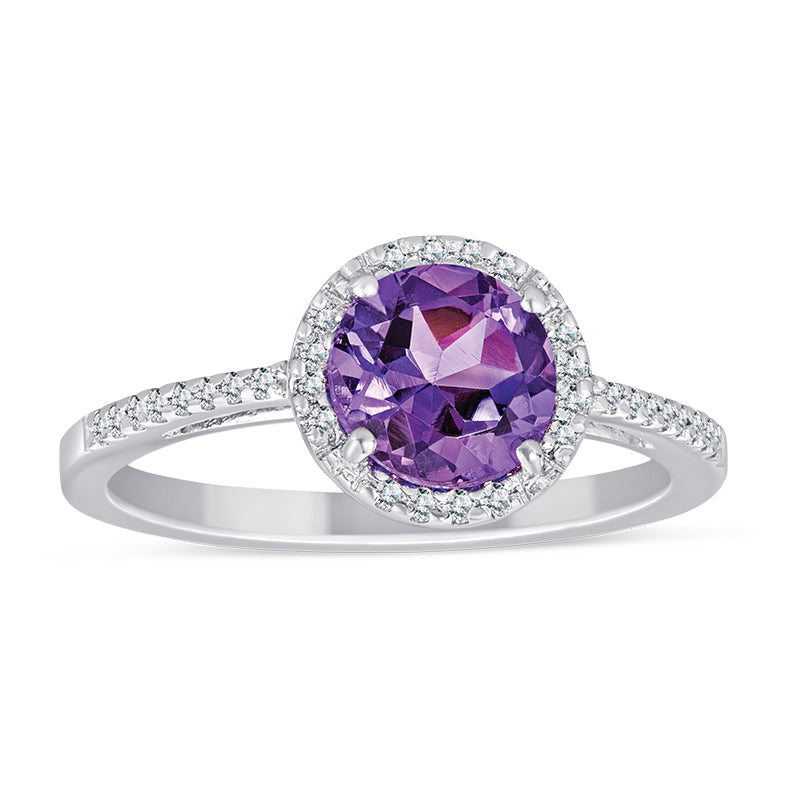 Stelring Silver Ring with Amethyst and Diamond