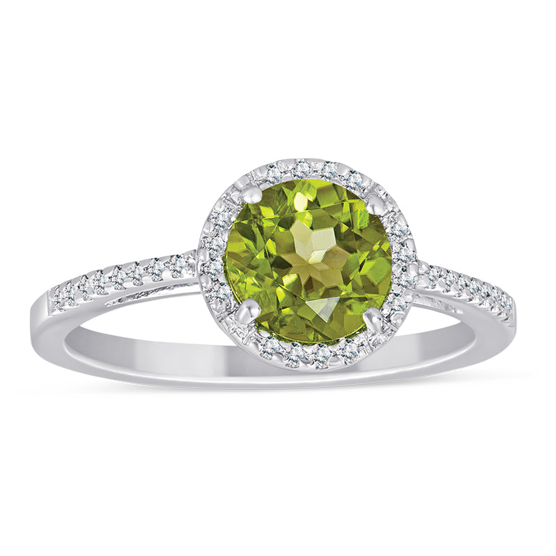 Sterling Silver Ring with Peridot and Diamond