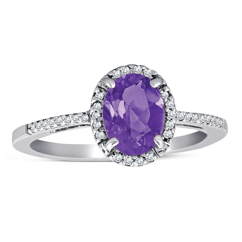 Sterling Silver Ring wiht Amethyst and Diamond