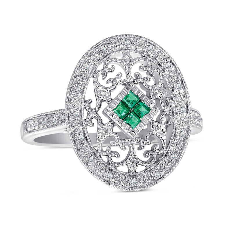 Sterling Silver Ring with Emerald and Diamonds