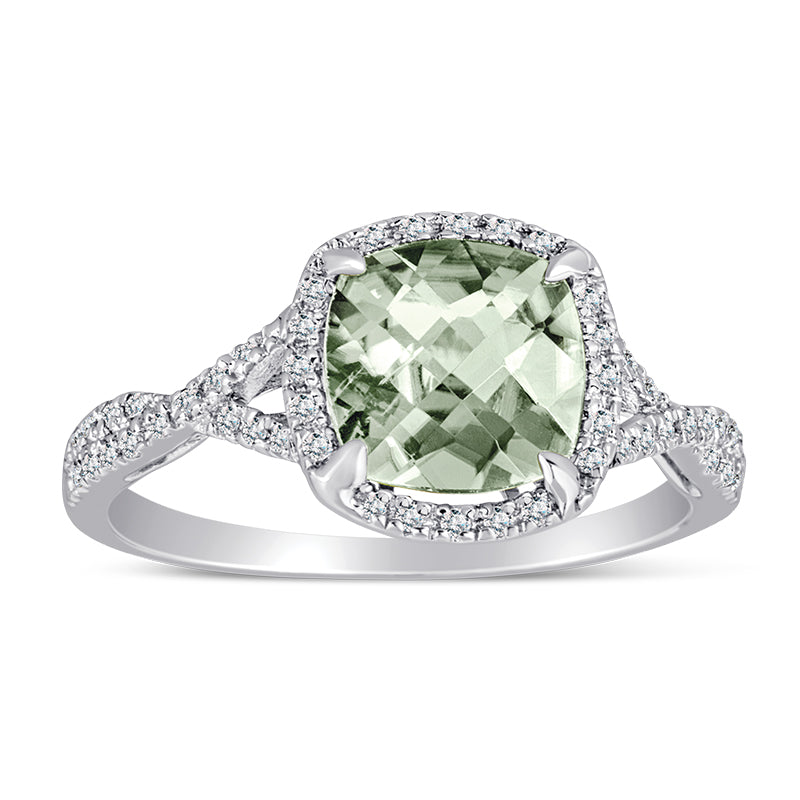 Sterling Silver Ring with Green Amethyst and Diamond