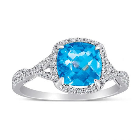 Sterling Silver Ring with Blue Topaz and Diamond