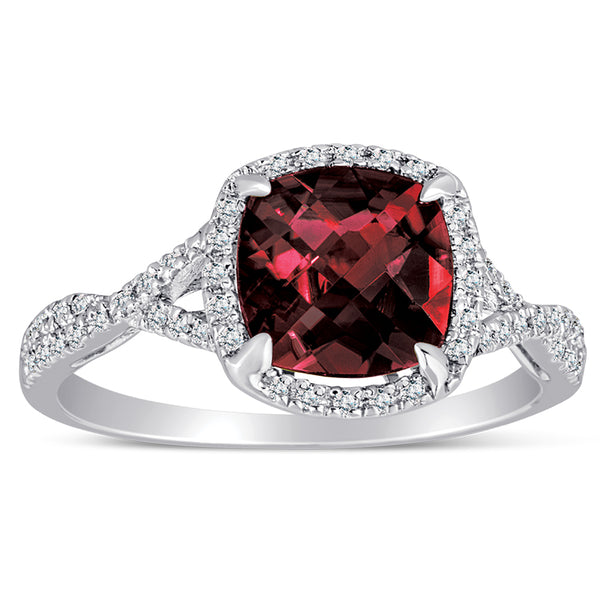 Sterling Silver Ring with Garnet and Diamond