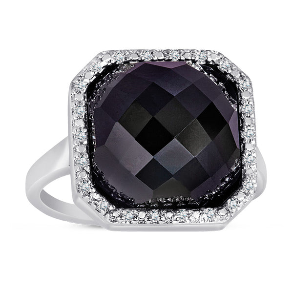Sterling Silver Ring with Black Onyx and Diamonds