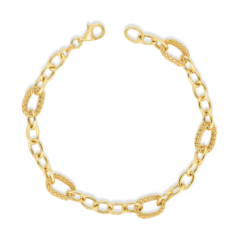 14kt Gold 7.25 inches Yellow Finish 6.3mm Shiny+Textured with Lobster Clasp