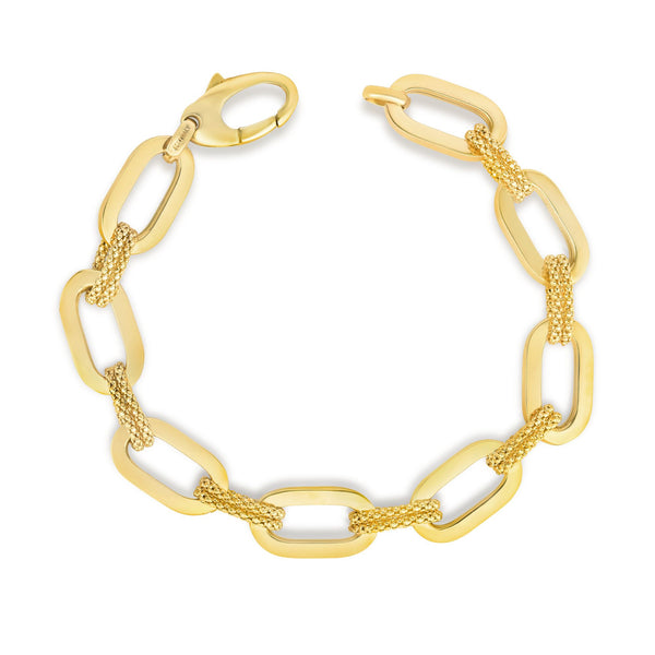 14kt Gold 7.5 inches Yellow Finish 10mm Shiny+Textured Long Link Fancy Bracelet with Lobster Clasp