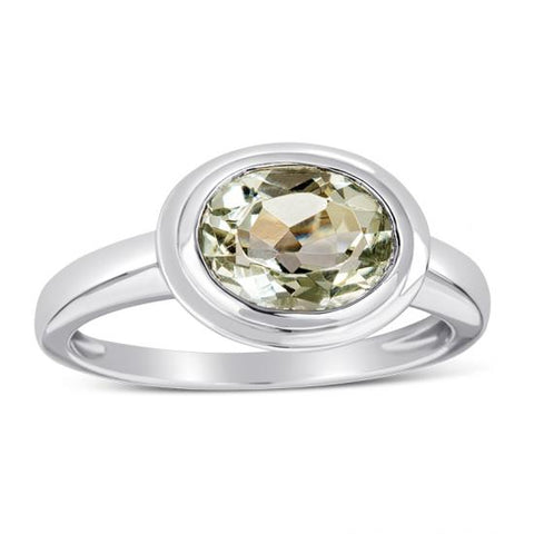Sterling Silver Ring with Green Amethyst