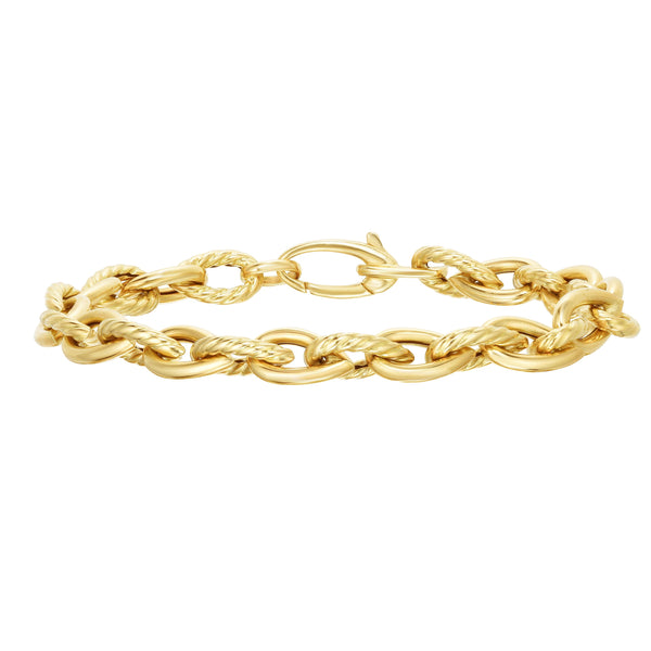 14kt Gold 7.5 inches Yellow Finish 7.2mm Diamond Cut Tear Drop Link Bracelet with Lobster Clasp