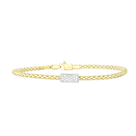 14kt Gold 7.25 inches Yellow Finish 4.8mm Polished Popcorn Bracelet with Lobster Clasp with 0.1700ct 1.3mm White Diamond