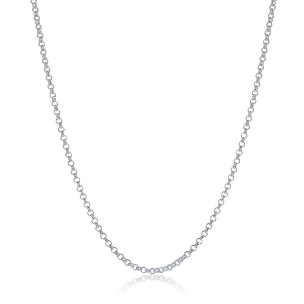 Sterling Silver 1.5mm Rolo Chain - Silver Plated