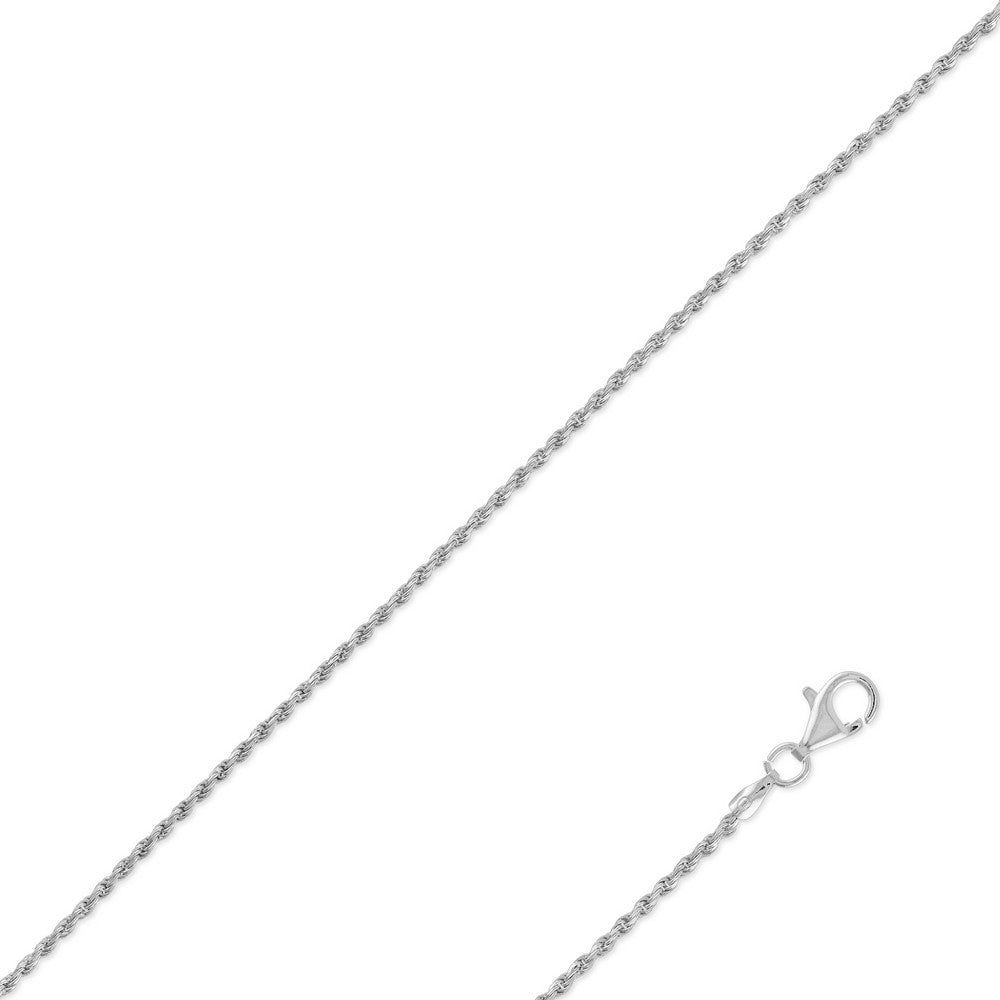 Sterling Silver 1.5mm Rope Chain - Silver Plated
