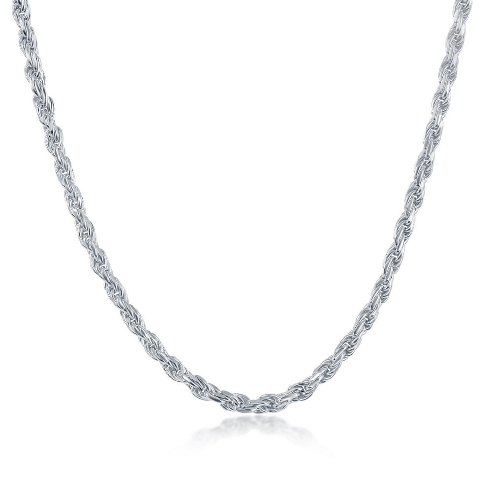 Sterling Silver 2.7MM Rope Chain - Silver Plated