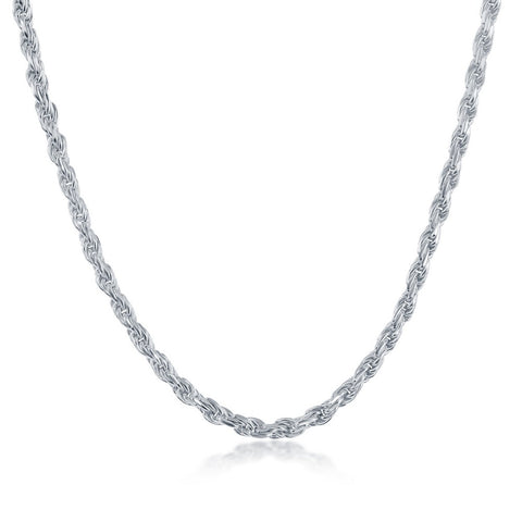 Sterling Silver 3.3mm Rope Chain - Silver Plated