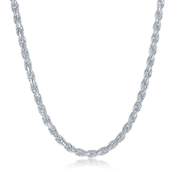 Sterling Silver 3.7mm Rope Chain - Silver Plated