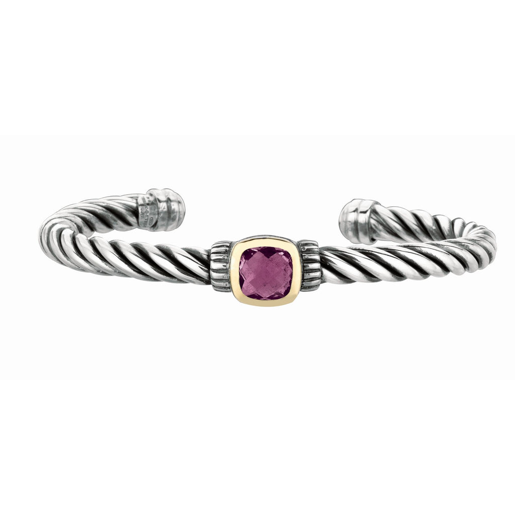 18kt Yellow Gold+Sterling Silver Oxidized Amethyst Twisted Cuf f Bangle.