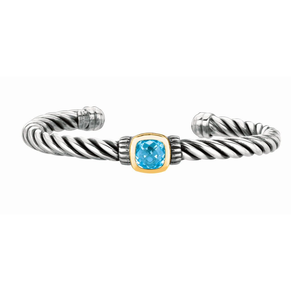 18kt Yellow Gold+Sterling Silver Oxidized Blue Topaz Twisted Cuff Bangle.
