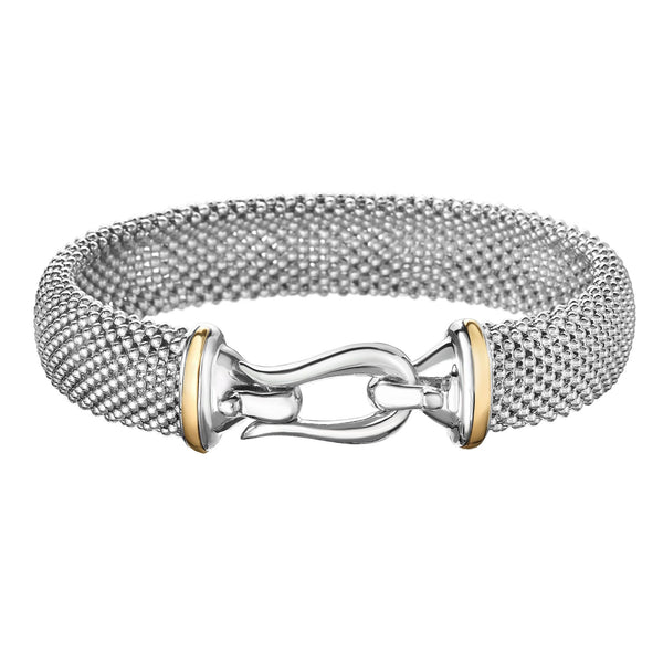 18kt+Silver 7.5 inches Yellow+Rhodium Finish 13.5mm Shiny Dome Popcorn Bangle with Hook Clasp