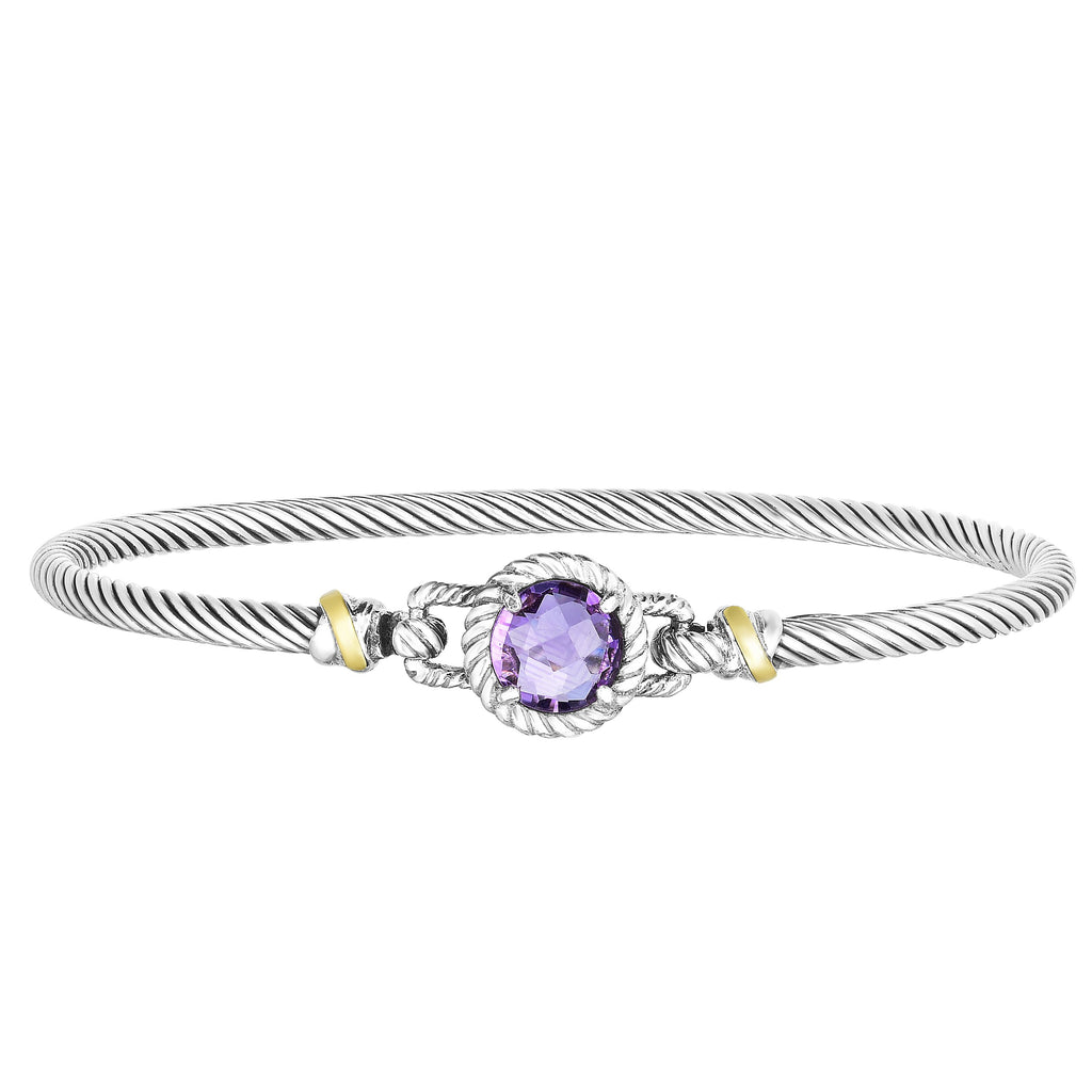 18kt+Silver 7 inches Yellow+Oxidized Finish 2.75mm Textured Bangle with Hook Clasp with 2.0000ct 8mm Round Briolette Purple Amethyst