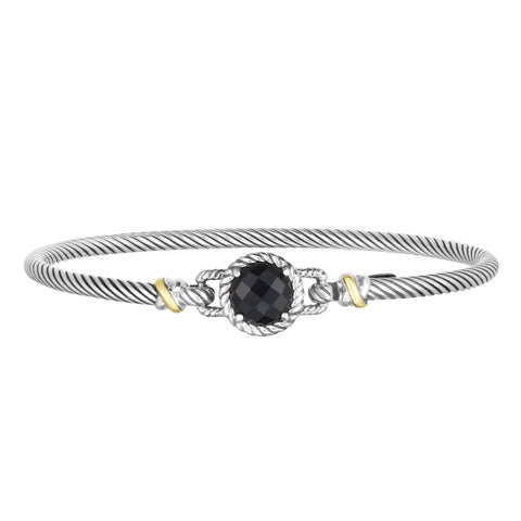 18kt+Silver 7 inches Yellow+Oxidized Finish 2.75mm Textured Bangle with Hook Clasp with 2.0000ct 8mm Round Briolette Black Onyx