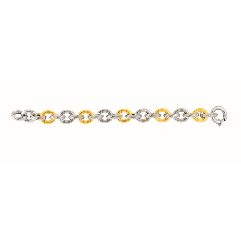 18kt Yellow Gold+Sterling Silver with Rhodium Finish Finish ed 8.25 inches 14.3mm Alternate 1 Y ellow+3 White Twisted Oval Link Bracelet withSpring Ring Clasp