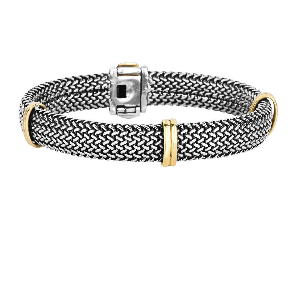 18kt 7.5 inches Yellow Gold+Silver with Oxodized Finish 10.8mm Oval Shape Woven Mesh Bracelet+3 Yellow Double Oval Barrel Element with Snap Box Clasp