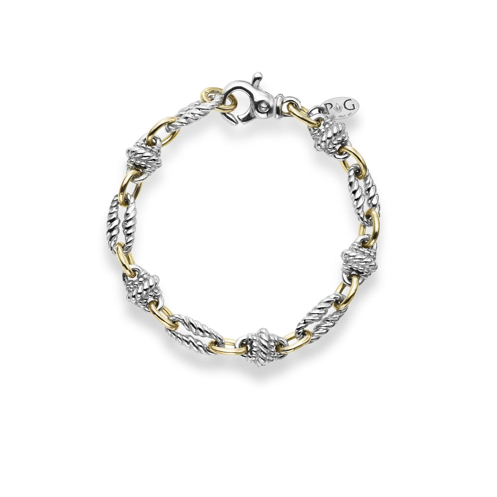 18kt+Silver 7.5 inches Yellow+Rhodium Finish 3mm Shiny Fancy Link Italian Cable Bracelet with Lobster Clasp