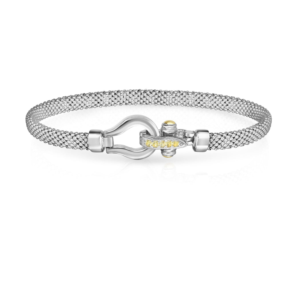 18kt+Silver 7.25 inches Yellow+Rhodium Finish 3mm Textured Dome Popcorn Bracelet with Hook Clasp with 0.1525ct 1.7mm Round Yellow Sapphire